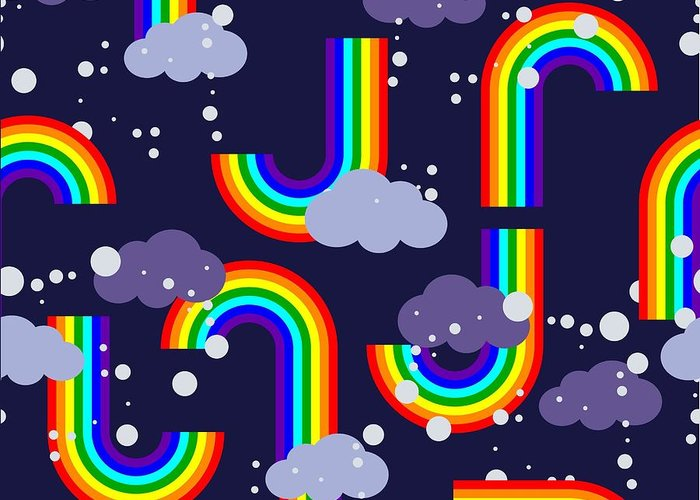 Atmosphere Greeting Card featuring the digital art Clouds And Rainbow Cartoon Wallpaper by Tomka
