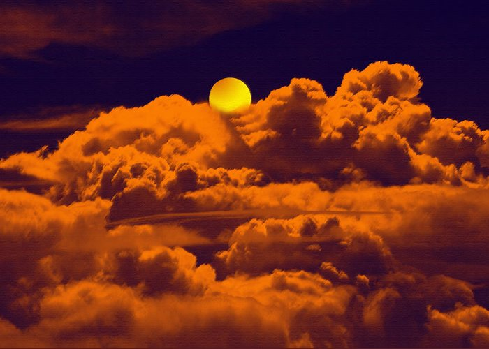 Clouds Greeting Card featuring the digital art Clouds And The Moon by Bliss Of Art
