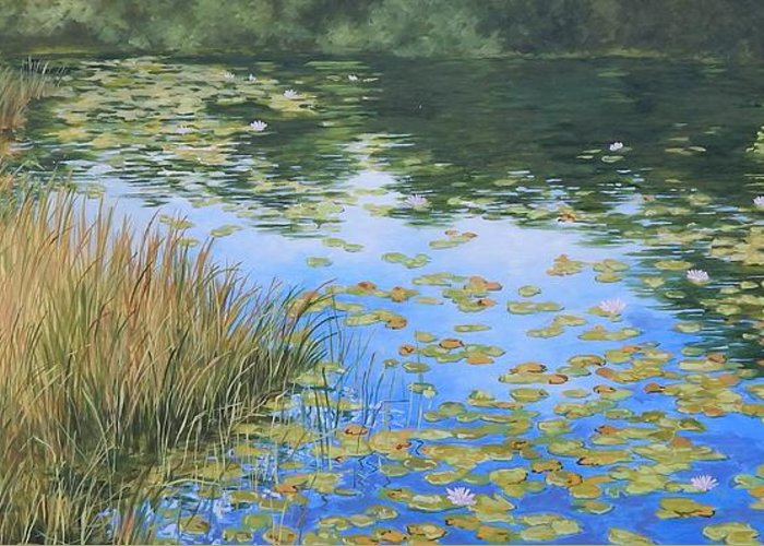 Still Water Reflections Greeting Card featuring the painting Clouds In The Pond by Anna Lowther