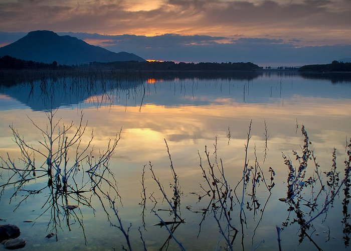 Sunset Greeting Card featuring the photograph Clouds On The Pink Water by Guido Montanes Castillo