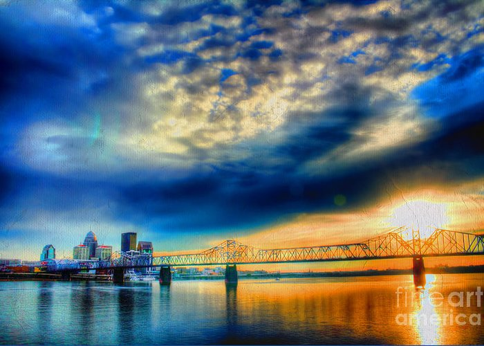 Painterly Greeting Card featuring the photograph Clouds Over Louisville by Darren Fisher