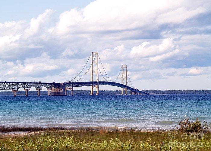 Bridge Greeting Card featuring the photograph Clouds Over Mackinaw by Melissa McDole