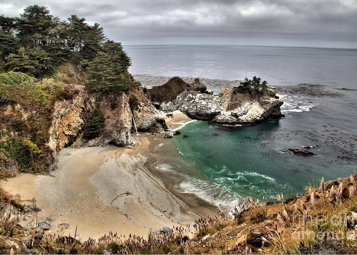 Mcway Falls Greeting Card featuring the photograph Clouds Over Mcway by Adam Jewell
