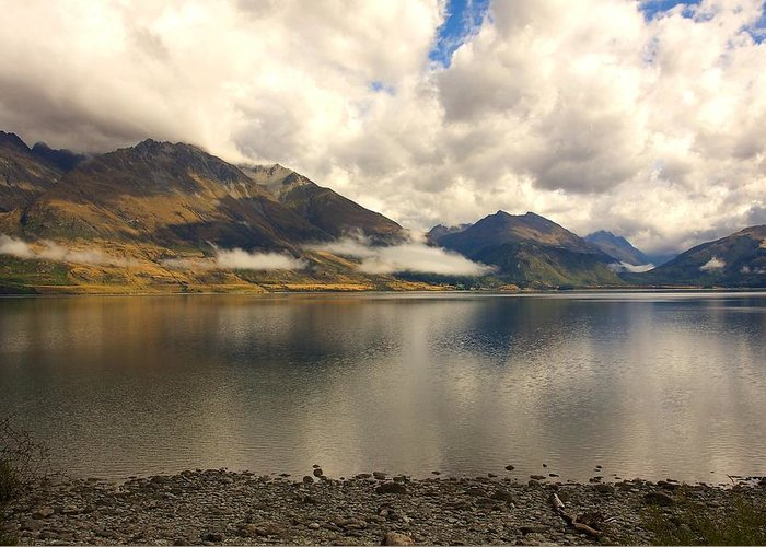 New Zealand Greeting Card featuring the photograph Clouds Over Wakatipu #1 by Stuart Litoff