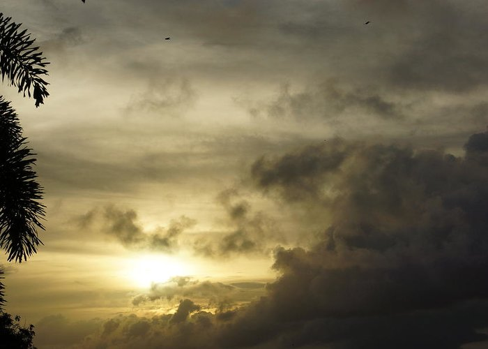 Greeting Card featuring the photograph Cloudy Sunset Photo by Epic Luis Art