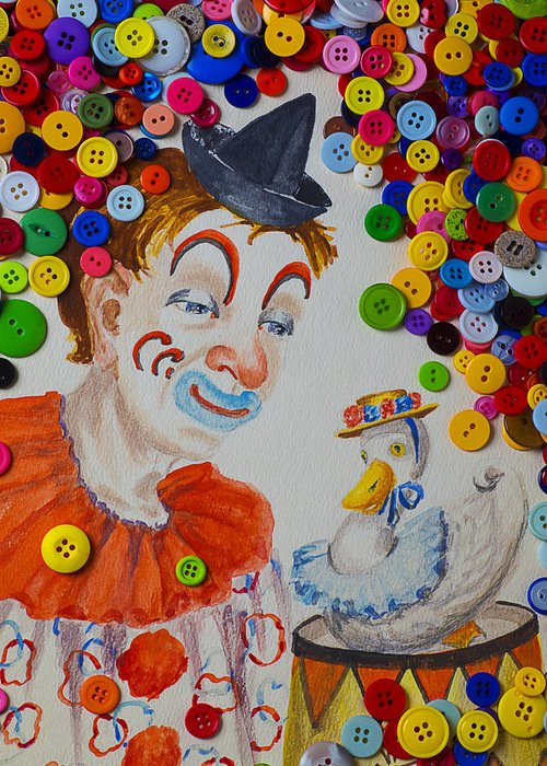 Clown Greeting Card featuring the photograph Clown And Duck With Buttons by Garry Gay