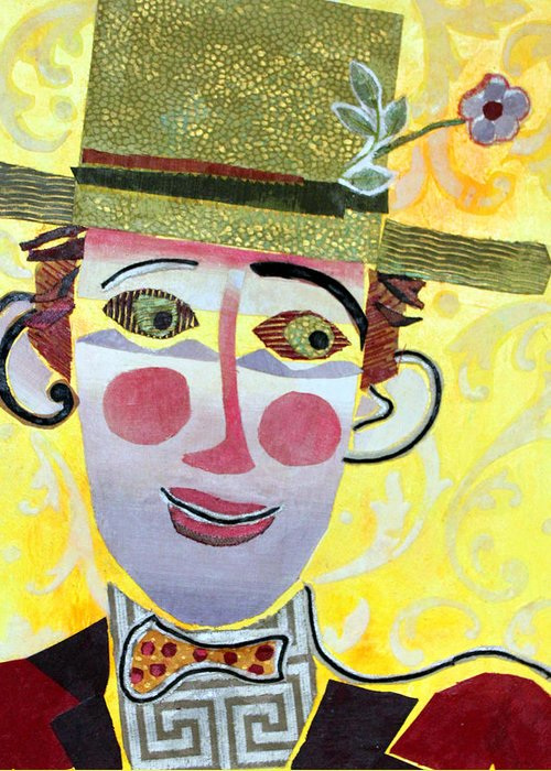 Mixed Media Portrait Greeting Card featuring the mixed media Clowning Around by Diane Fine