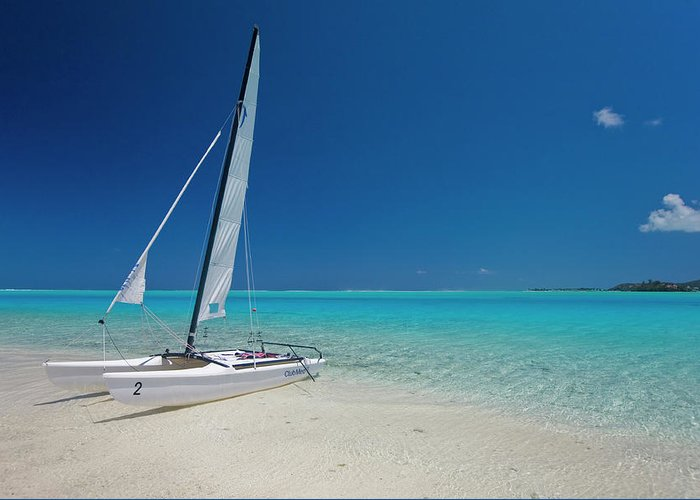 Club Med Greeting Card featuring the photograph Club Med Sailing Catamaran On Shore Of by Merten Snijders