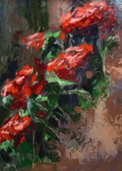 P/a Of Bob Hope Roses Greeting Card featuring the painting Cluster Of Hope by Bryan Alexander