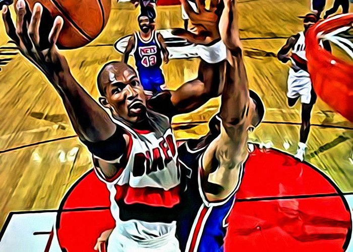 Clyde Drexler Greeting Card featuring the painting Clyde Drexler by Florian Rodarte