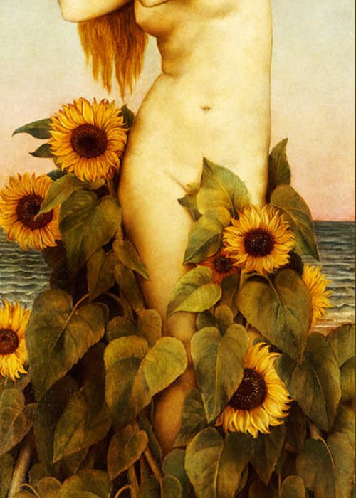 Sunflower Greeting Card featuring the painting Clytie by Evelyn De Morgan
