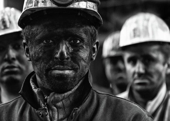 Coal Greeting Card featuring the photograph Coal Mine Workers...3 by Yavuz Sariyildiz