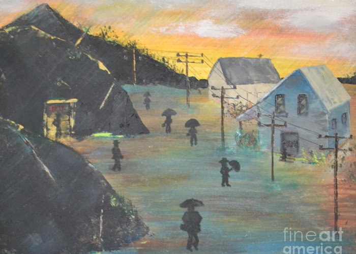 Coal Greeting Card featuring the painting Coal Miners Village by Denise Tomasura