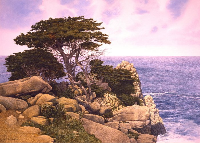 Seascape Greeting Card featuring the painting Coast At Lobos by Tom Wooldridge