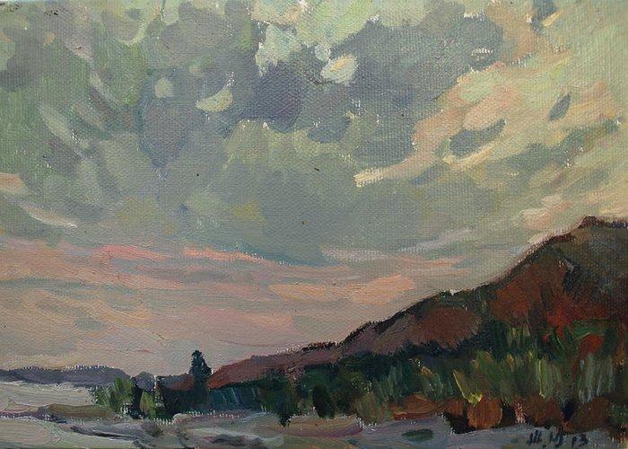 Sea Greeting Card featuring the painting Coast At Sunset by Juliya Zhukova