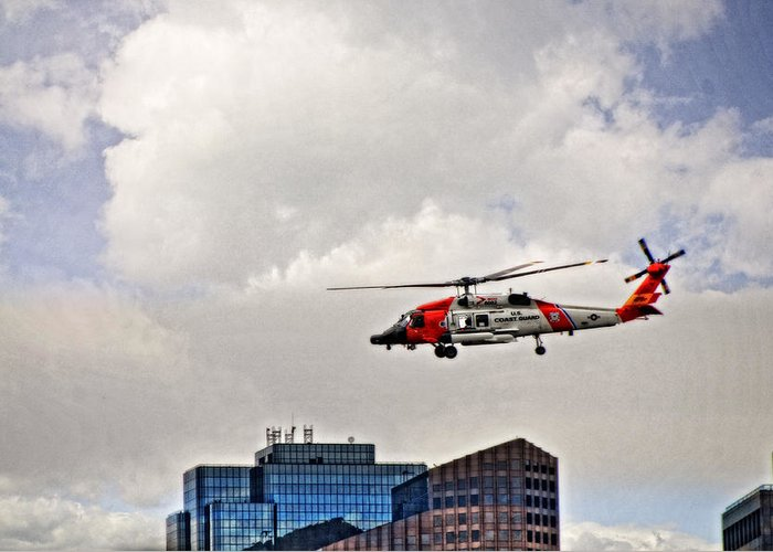 Helicopter Greeting Card featuring the photograph Coast Guard Chopper Over Boston by Mike Martin
