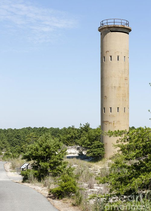 Coast Guard Greeting Card featuring the photograph Wwii Coast Guard Tower At Cape Henlopen State Park In Delaware by William Kuta