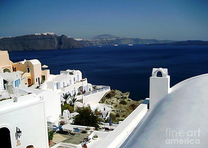 Santorini Greeting Card featuring the digital art Coast Of Santorini by John Kreiter