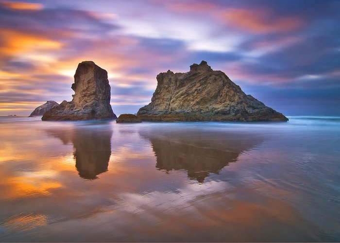 Sea Stack Reflections Greeting Cards