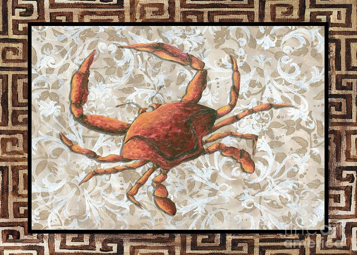 Coastal Greeting Card featuring the painting Coastal Crab Decorative Painting Greek Border Design By Madart Studios by Megan Duncanson