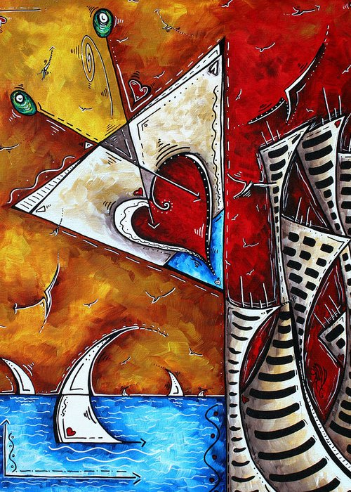 Coastal Greeting Card featuring the painting Coastal Martini Cityscape Contemporary Art Original Painting Heart Of A Martini By Madart by Megan Duncanson