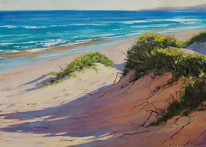 Seascape Greeting Card featuring the painting Coastal Sand by Graham Gercken