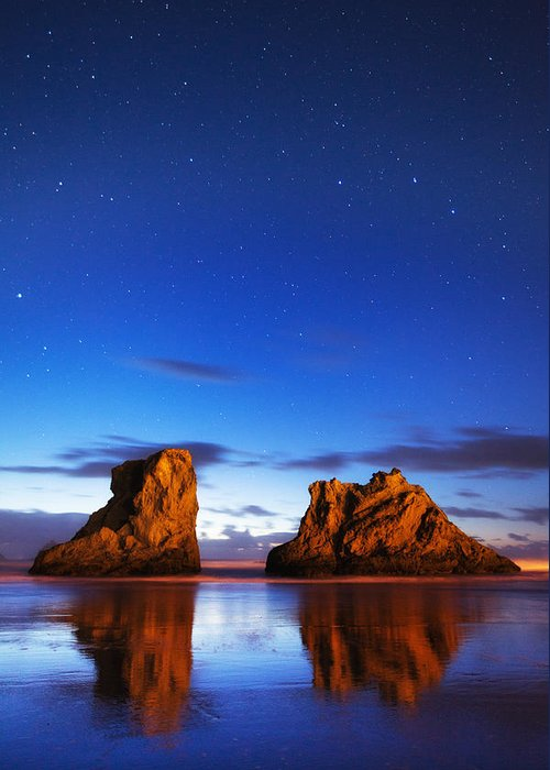 Oregon Greeting Card featuring the photograph Coastal Twilight by Darren White