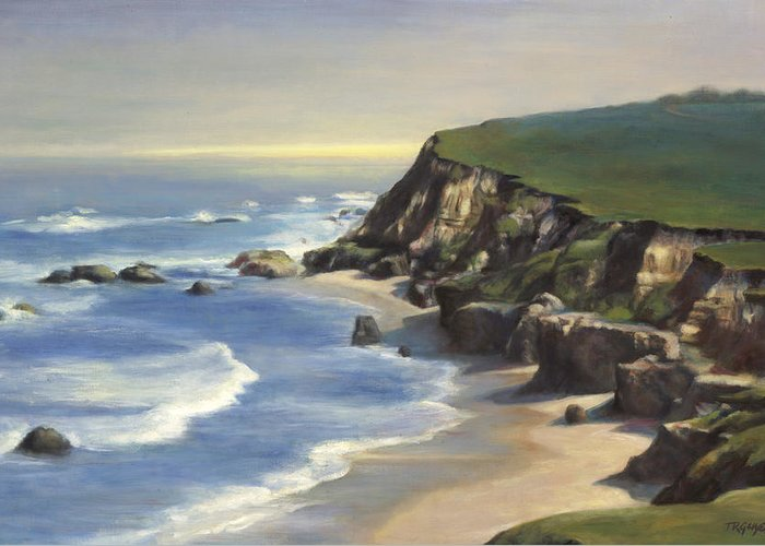 Seascape Greeting Card featuring the painting Coastline Half Moon Bay by Terry Guyer