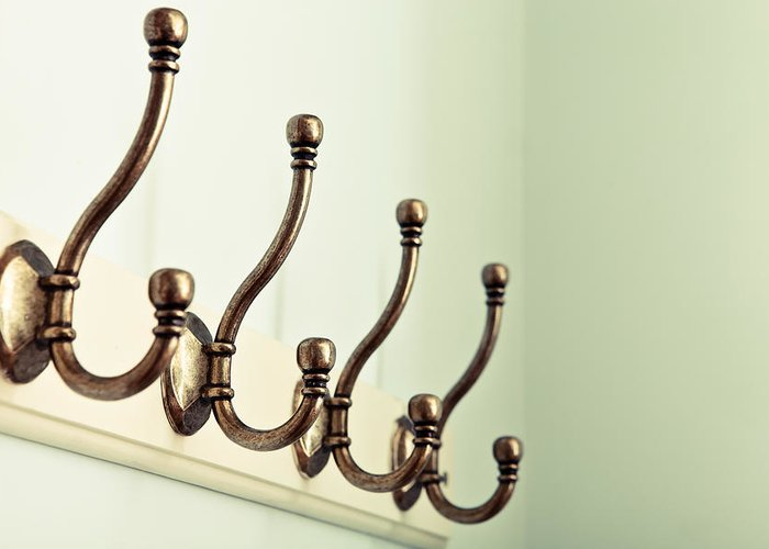 Accessory Greeting Card featuring the photograph Coat Hooks by Tom Gowanlock