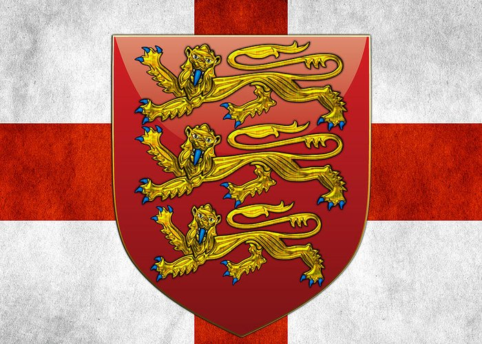 'world Heraldry' Collection By Serge Averbukh Greeting Card featuring the digital art Coat Of Arms And Flag Of England by Serge Averbukh
