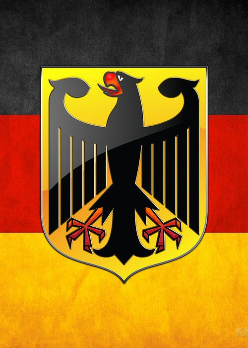 C7 World Heraldry 3d Greeting Card featuring the digital art Coat Of Arms And Flag Of Germany by Serge Averbukh