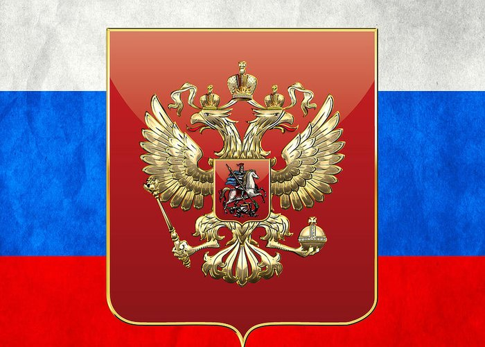 C7 World Heraldry 3d Greeting Card featuring the digital art Coat Of Arms And Flag Of Russia by Serge Averbukh