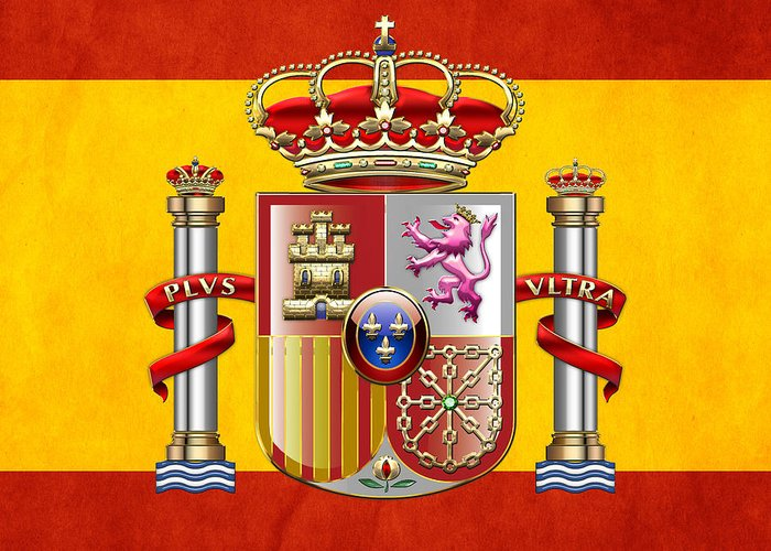 C7 World Heraldry 3d Greeting Card featuring the digital art Coat Of Arms And Flag Of Spain by Serge Averbukh