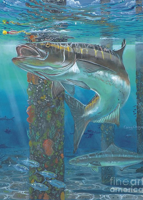 Cobia Greeting Card featuring the painting Cobia Strike In0024 by Carey Chen