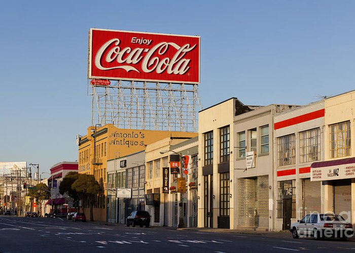 Coca Cola Greeting Card featuring the photograph Coca Cola Billboard - San Francisco, California Usa by B Christopher