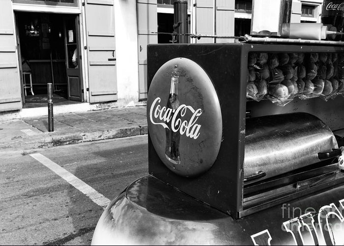 Coca Cola On Bourbon Street Greeting Card featuring the photograph Coca Cola On Bourbon Street Mono by John Rizzuto