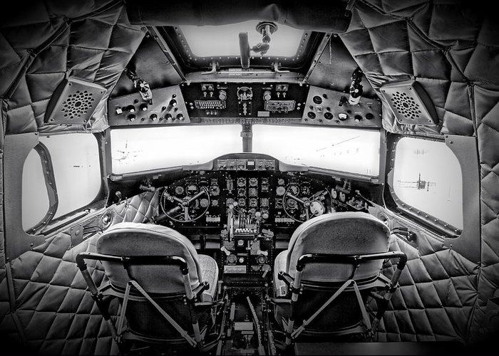 Restoration Greeting Card featuring the photograph cockpit of a DC3 Dakota by Paul Fell