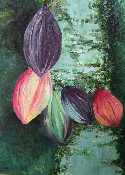 Cocoa On The Tree Greeting Card featuring the painting Cocoa Pods by Karin Dawn Kelshall- Best