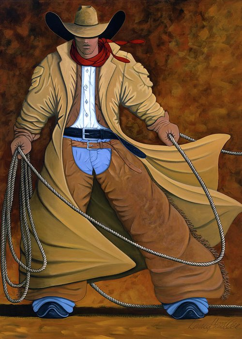 Contemporary Western Greeting Card featuring the painting Cody by Lance Headlee