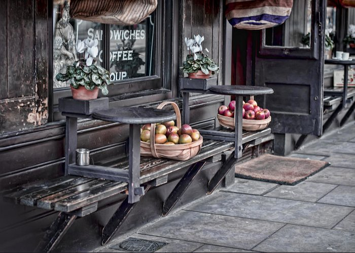 Bench Greeting Card featuring the photograph Coffe Shop Cafe by Heather Applegate