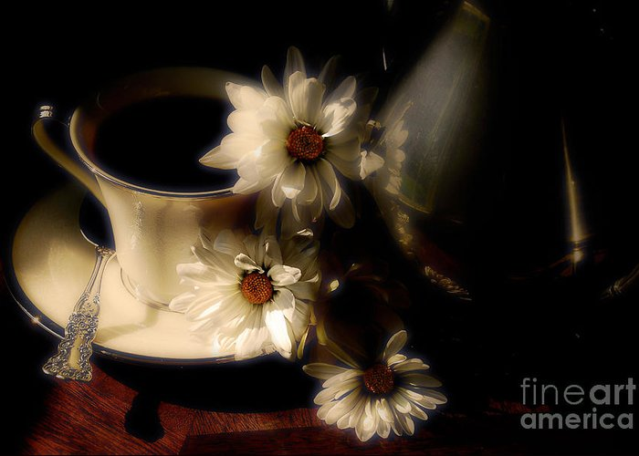 Coffee Greeting Card featuring the photograph Coffee And Daisies by Lois Bryan
