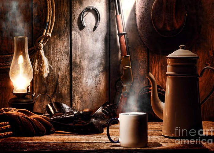 Coffee Greeting Card featuring the photograph Coffee At The Cabin by Olivier Le Queinec