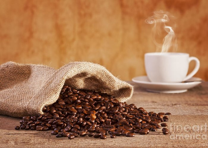 Coffee Greeting Card featuring the photograph Coffee Beans And Burlap Sack by Colin and Linda McKie