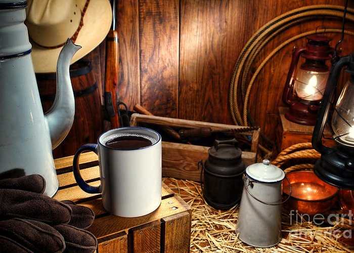 Western Greeting Card featuring the photograph Coffee Break At The Chuck Wagon by Olivier Le Queinec