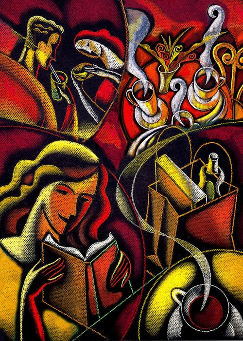 Bohemian Book Cafe Coffee Coffee Break Coffee Cup Coffee House Drink Drinking Fiction Leisure Pastime People Read Reading Refreshment Relax Relaxation Steam Table Tea Woman Greeting Card featuring the painting Coffee Break by Leon Zernitsky