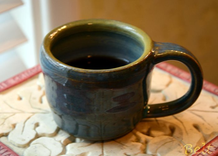 Coffee Cup Greeting Card featuring the ceramic art Coffee Connoisseur No.5 by Christine Belt
