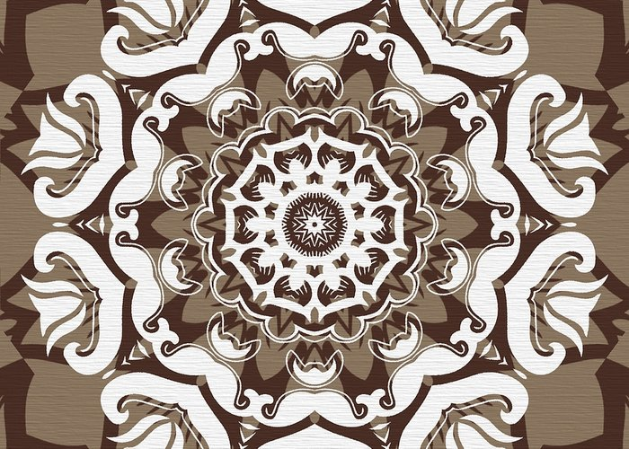 Intricate Greeting Card featuring the digital art Coffee Flowers 10 Ornate Medallion by Angelina Vick