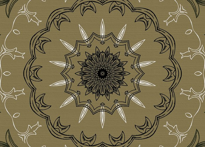 Intricate Greeting Card featuring the digital art Coffee Flowers 3 Olive Ornate Medallion by Angelina Vick