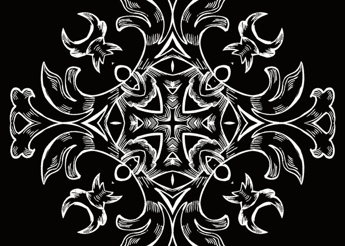 Intricate Greeting Card featuring the digital art Coffee Flowers 7 Bw Ornate Medallion by Angelina Vick