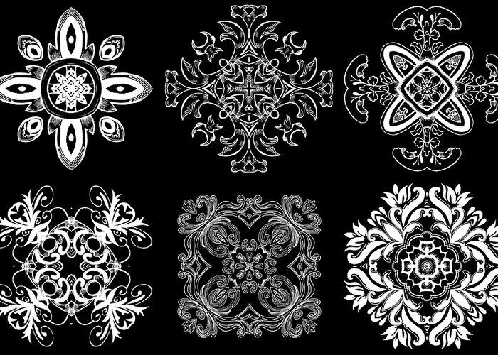 Intricate Greeting Card featuring the digital art Coffee Flowers Ornate Medallions Bw 6 Peice Collage by Angelina Vick